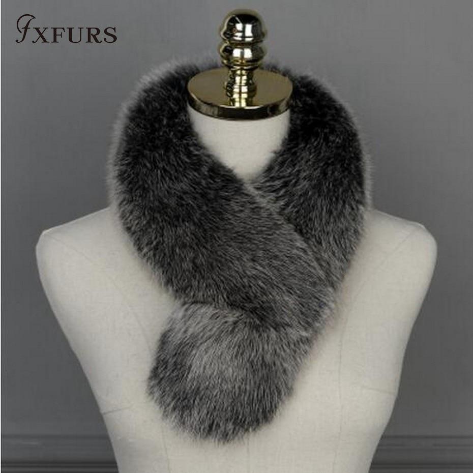 b424c3d9c63b FXFURS новый бренд натуральным лисьим меховой воротник шарф женский платок  обертывания Shrug шею Черный украл оптовая