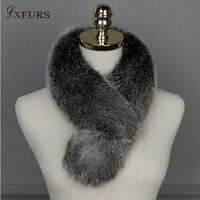 Fxfurs新しいブランドリアルフォックス毛皮の襟スカーフレディースショールラップすくめ首ウォーマー黒卸売リングスカーフ付きクランプ