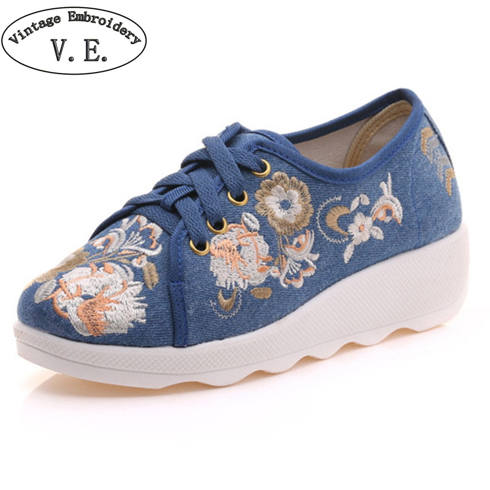 Women Flats Canvas Flower Embroidery Lace Up Woman Casual Cotton Cloth Platforms Comfortable Shoes Sapato Feminino vintage embroidery women flats chinese floral canvas embroidered shoes national old beijing cloth single dance soft flats