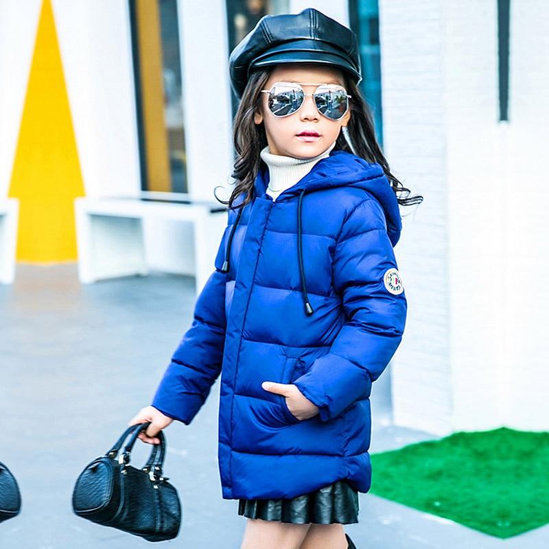 2016 Moda kızın Aşağı ceketler/mont kış Rusya bebek Mont kalın ördek Sıcak ceket Çocuk Outerwears-30 derece ceketler