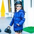 2017 Moda Para Baixo da Menina jaquetas/casacos de inverno Casacos grossos do bebê Rússia pato Quente jaqueta Crianças Outerwears-30 grau jaquetas