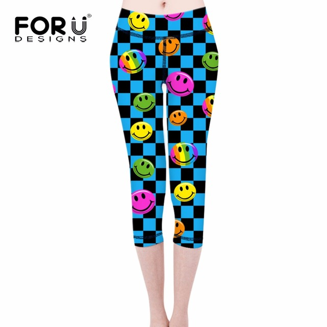 FORUDESIGNS Brand Fashion 3D Emoji Smile Printing legins Punk Women's Legging Stretchy Trousers Casual Slim fit Pants Leggings