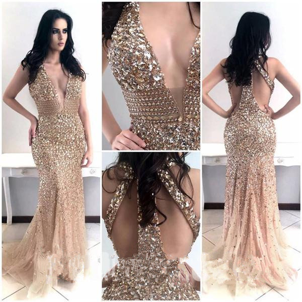 Beading Mermaid Evening Dresses Long Vestido de Festa Halter V Neck Crystal Beaded Formal Party Prom Gown Robe de Soiree 2019