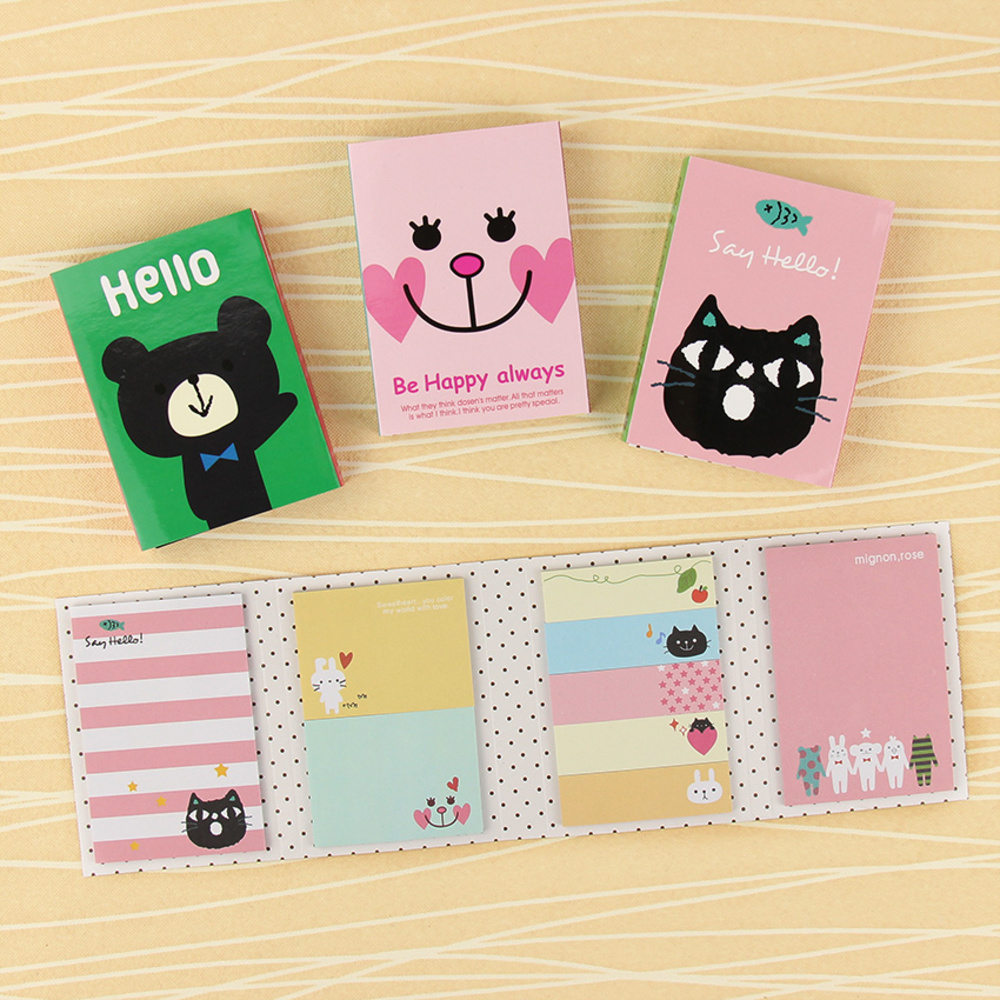 BP1PC Creative 180 Pages Sticker Mini Animal Sticky Notes 4 Folding Memo Pad Gifts School Stationery Supplies WJ-SMT93 girls gifts cute 160 pages sticker school supplies memo flags mini sticky notes pad