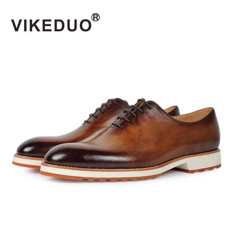 Vikeduo 2019 Handmade Retro buty moda luksusowe formalne wesele mężczyzna sukienka buty z prawdziwej skóry mężczyźni Oxford patyna Zapatos w Oxfordy od Buty na  Grupa 1