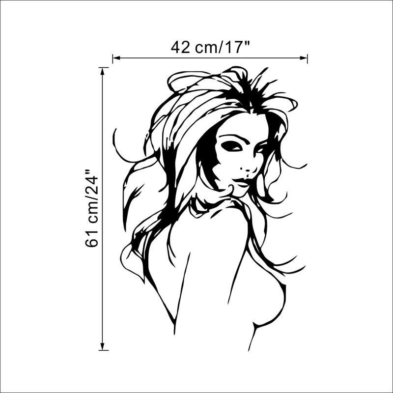 Modern Sexy Naked Women Vinyl Wall Decor Stickers Decals Murals For