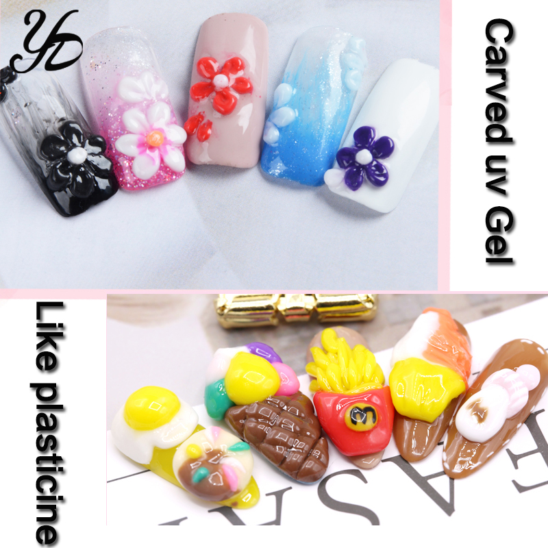 Image 5 - Yiday Multi 12 Colors Soak Off 3D Carved Patterns UV Gel Nail Art Modelling Sculpture Manicure DIY 4D Painting Embossed LED Gel-in Nail Gel from Beauty & Health