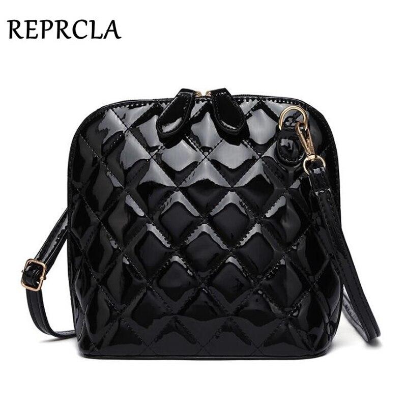 REPRCLA Hot New Plaid Women Bags High Quality Shoulder Bag Patent Leather Women Messenger Bags Casual Shell Crossbody Bag