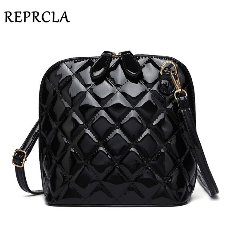 REPRCLA Hot New Plaid Women Bags High Quality Shoulder Bag Patent Leather Women Messenger Bags Casual Shell Crossbody Bag