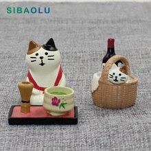 Cute Cat Basket Tea Beer Miniature figurine Japan Zakka Resin Toy wedding decoration fairy garden statue Home  Decole