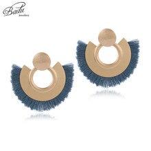Badu Big Gold Earring Cotton Tassel Women Navy Blue Drop Dangle Earrings Vintage Fashion Jewelry Heavy Metal