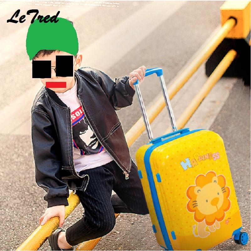 Новый Лев 19'20' милый мультфильм чемоданы колеса для мальчиков и девочек Rolling Чемодан Spinner Тележка детская дорожная сумка студент
