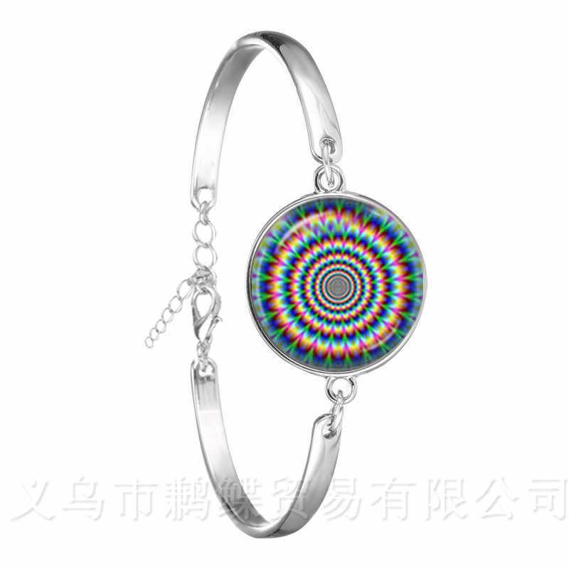 Flor de la vida deslumbrante Mandala caleidoscopio azul para mujer regalo de chica cristal negro cuero pulsera brazalete joyería Bijouterie