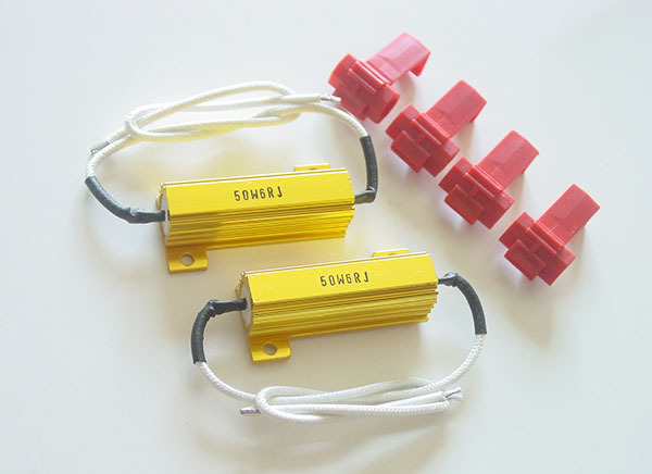 PA LED 2pcs x PA LED Signal Flasher Fix Error Free use Gold Load Resistor Kit 50W 6 OHM Fix Hyper Flash Warning Cancellor