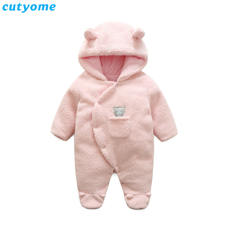 Cutyome Newborn Fleece Baby Rompers For Girls Winter Clothes Infantil Girl Hooded Cartoon Pink Padded Overalls Thick Jumpsuits newborn baby girls rompers cotton padded thick winter clothing set cartoon bear infant climb hooded clothes babies boy jumpsuits