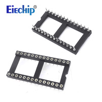 Free Shipping 8pcs Round Hole 28 Pins Wide 2 54MM DIP IC Sockets Adaptor Solder Type