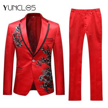 YUNCLOS  New Men Applique Suit Party Dress 2 Pieces Tuxedos Slim Fit Terno Masculino Formal Wedding Suits