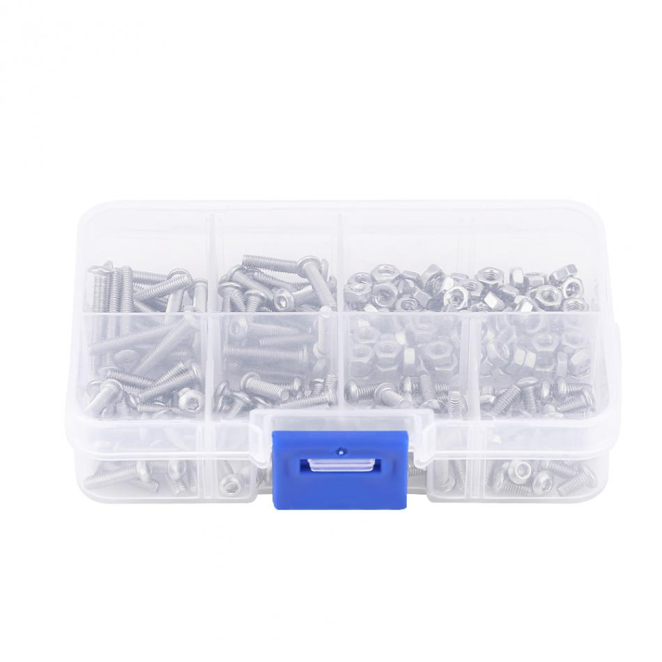 240Pcs/Box M3 RC Parts Hex Socket Button Head Screw Nut Stainless Steel Bolt Fastener RC Accessory