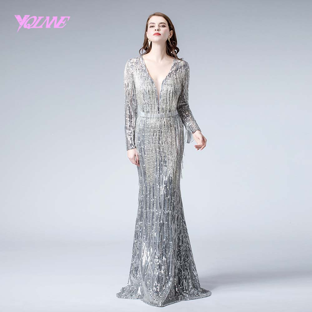 Sliver Long Sleeve   Evening     Dress   Mermaid Sequins Beading   Evening   Gown   Dresses   2019 YQLNNE