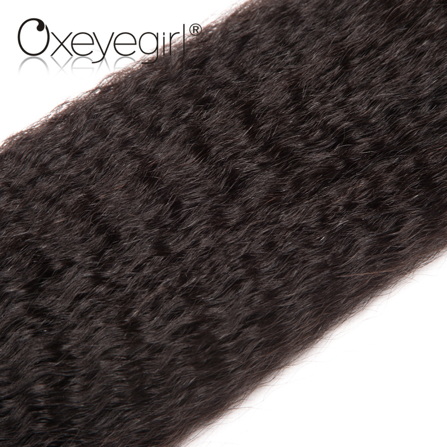 Malaysian Kinky Straight hair bundles Human Hair Bundles Natural Color Non Remy Hair Extensions Oxeye girl 3 Bundles/bag 10-28