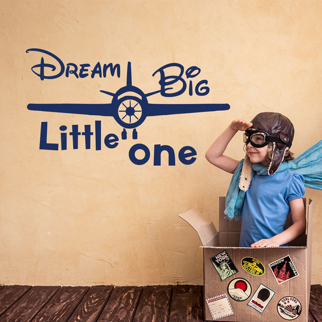Dream Big Little One Wall Stickers Airplane Removable DIY Stickers ...