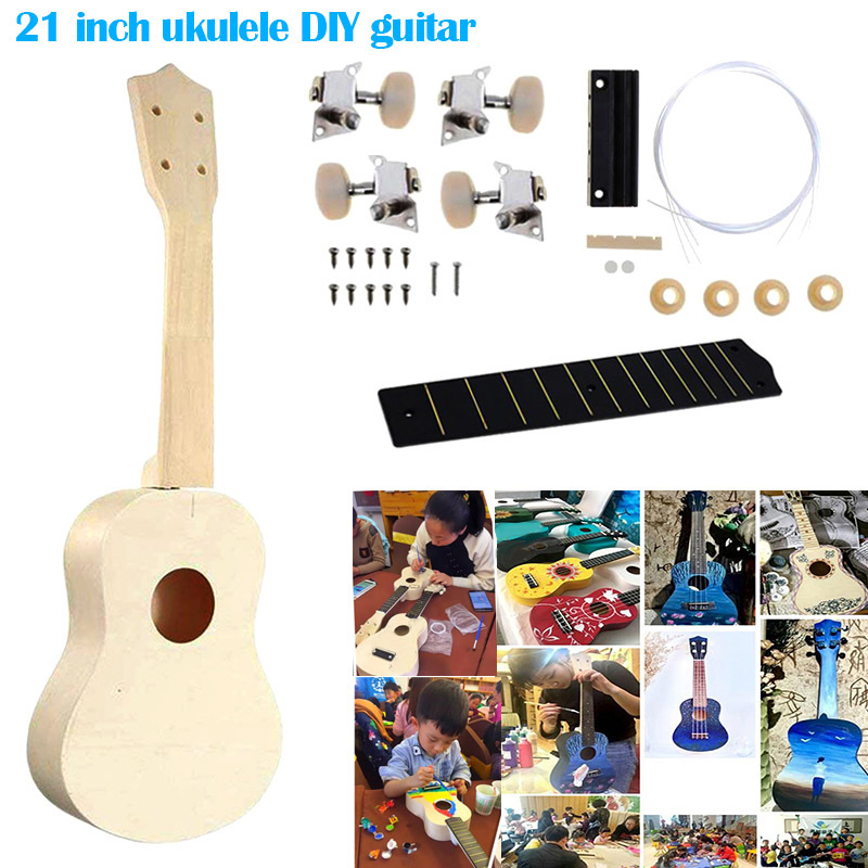 21 Inch Ukulele DIY Kit Hawaii Guitar Handwork Support Painting Children Toy Assembly For Amateur/Kids YS-BUY