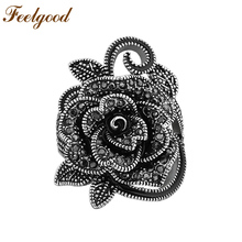 Feelgood Fashion Jewelry Hot Sale Black Crystal Big Flower Ring Antique Silver Color Vintage Rings For Women Wedding Party Gift