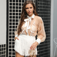 Yesexy 2019 Women Sexy O Neck See Through Top Solid Color Short 2 Pieces Set Lace Up Bow Tie Playsuits Short Jumpsuit VR18708