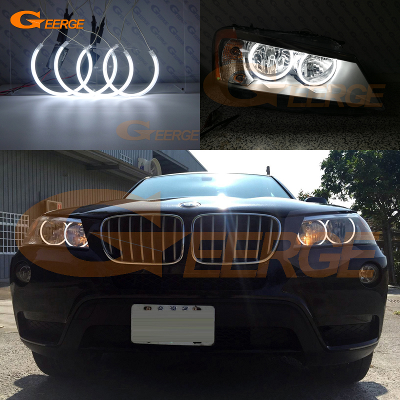 For BMW X3 F25 2010 2011 2012 2013 2014 HALOGEN HEADLIGHT Excellent Ultra bright illumination CCFL Angel Eyes kit Halo Ring free shipping super bright ccfl angel eyes halo rings kit for bmw e83 x3 auto headlight 4 rings 2 waterproof inverters page 7