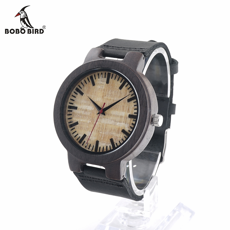BOBO BIRD V-C23 Mens Quartz-Watch Wooden Watches Red Color Second Black Leather Strap Relojes Hombre 2016 ultra luxury 2 3 5 modes german motor watch winder white color wooden black pu leater inside automatic watch winder