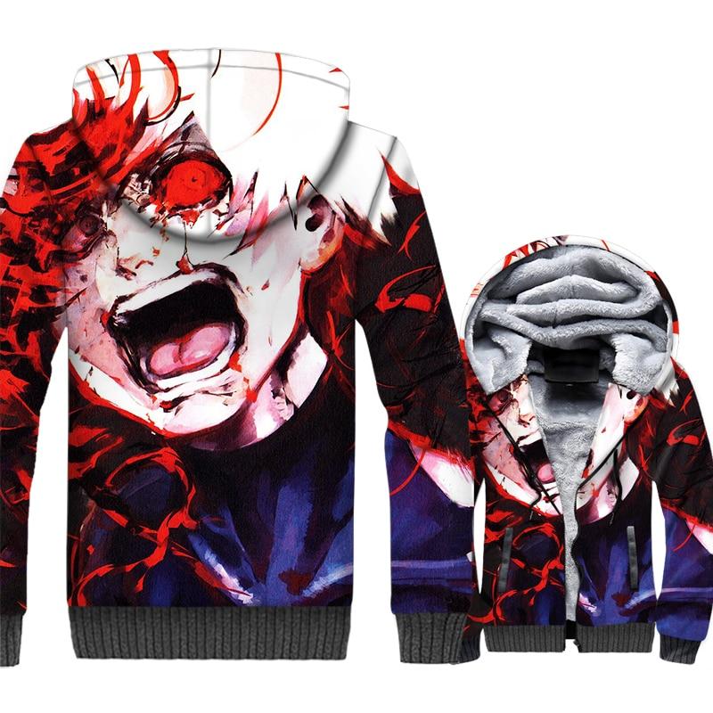 Tokyo Ghoul Jacket Men Anime kaneki ken Hoodie Sweatshirt Winter Thick Fleece Warm Zipper 3D Print Coat Punk Sportswear Homme
