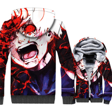 Tokyo Ghoul Jacket Men Anime kaneki ken Hoodie Sweatshirt Winter Thick Fleece Warm Zipper 3D Print Coat Punk Sportswear Homme tokyo ghoul hoodie anime ken kaneki cosplay zipper cotton black hooded jacket coat sweatshirt