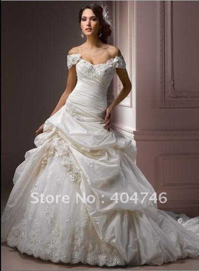 Free Shipping Taffeta Strapless Sweetheart Cap Sleeves Lace ...
