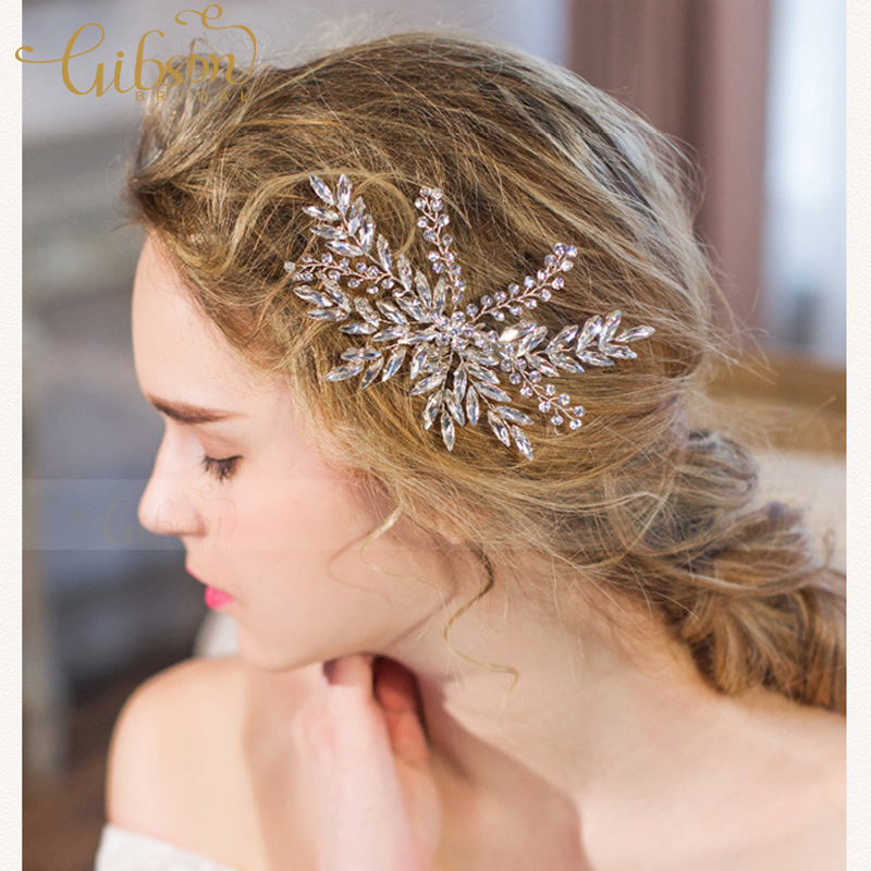 Free Shipping Handmade Shiny Rhinestone Wedding Hair Accessories Bridal Clip Princess Side Jewellery In Jewelry From
