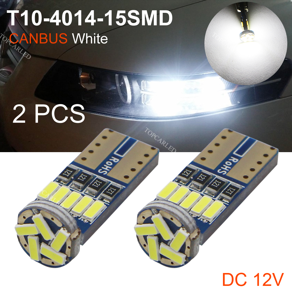 2pcs/lot T10 bulb led 194 T10 led canbus t10 15 SMD 4014 car LED signal light canbus error free led parking car styling Fog lamp 10pcs super bright led lamp t10 w5w 194 6smd 4014 error free canbus interior bulb white for car dc 12v free shipping new