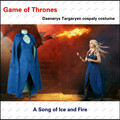 Game of Thrones Daenerys Targaryen Cosplay Costumes Sex Sleeveless Dress Electric Blue Dress Cloak new arrivals. ASZYBKJAA0267