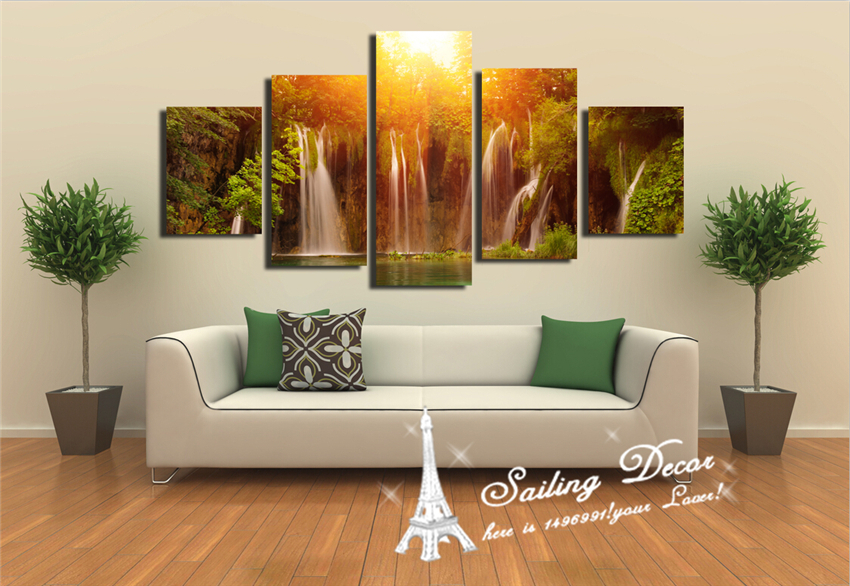 5panels A Set Canvas Painting Printed For Living Room Waterfall Stronger Height Nature Art Pictures Wall Decor In Calligraphy From Home