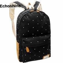 Fashion Students Oversize Bag Backpack Women Girl Canvas Rucksack Polka Dot Backpack School Book Shoulder Bag Free Shipping