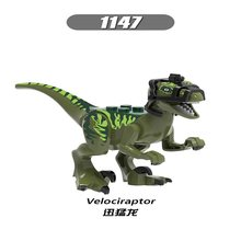 Única venda Legoedly Velociraptor Dinossauros Dilophosaurus Jurassic World 1147 Verde action figure Building Blocks Brinquedos(China)