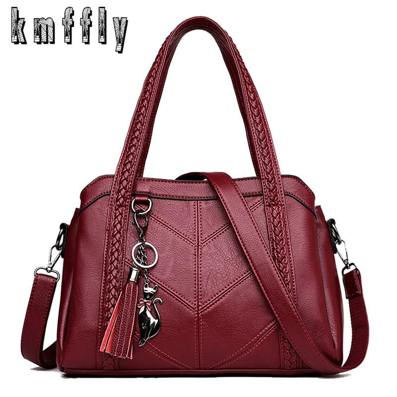 Hot Luxury Women Bags Designer Women Leather Tassel Big Tote Casual Ladies Shoulder Bag Retro Woven Stripes Female Crossbody Bag