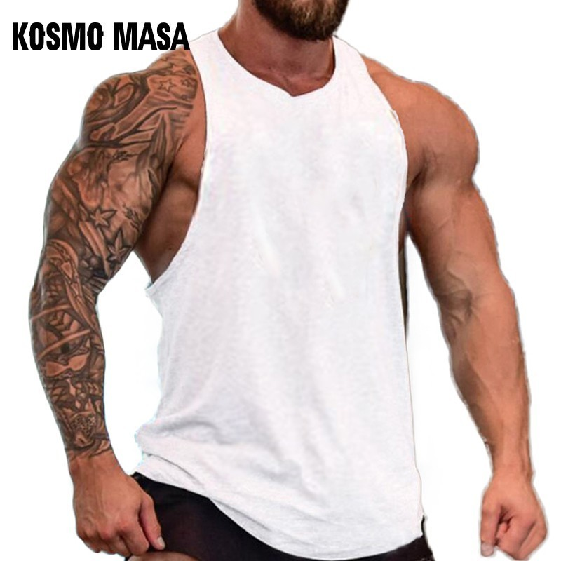 KOSMO MASA Cotton   Tank     Top   Men Gym Fitness Solid Summer Muscle Workout   Tank     Top   Stringer   Tank     Top   Bodybuilding For Men MC0380