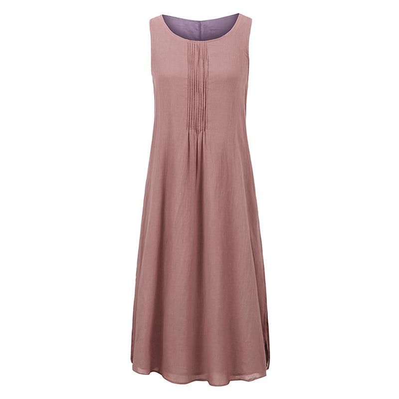 EaseHut Women Sleeveless Summer Dress 2019 Boho Beach Casual Ruched Slit Lined Midi Linen Dress S-5XL Plus Size Dresses elbise 4