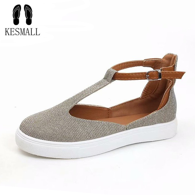 KESMALL Round Head Casual Shoes For Women Flat Oversized Loafers Shoes Buckle Hollow Ladies Sandals Flock Summer Shoes WS537