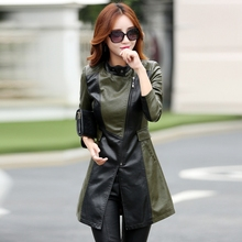 2016 leather jacket women medium long leather trench outerwear slim women s leather clothing 6608