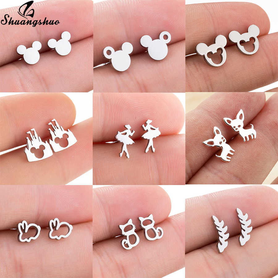 Shuangshuo Stainless Steel Mickey Anting-Anting Mouse Stud Anting-Anting Wanita Anting-Gadis Anak-anak Anting Mini Kartun Hewan Telinga Pendientes