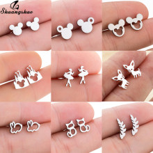 Shuangshuo Stainless Steel Mickey Earrings Mouse Stud Earrings Women Girls Kids Earing Mini Cartoon Animal Ear Studs pendientes(China)