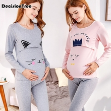2019 new maternity nursing long sleeve set pregnant women's side front open sleepwear breastfeeding pajamas set for pregnant breastfeeding clothes for pregnant women 2017 autumn nursing pajamas casual clothing set long sleeve maternity sleepwear a0035