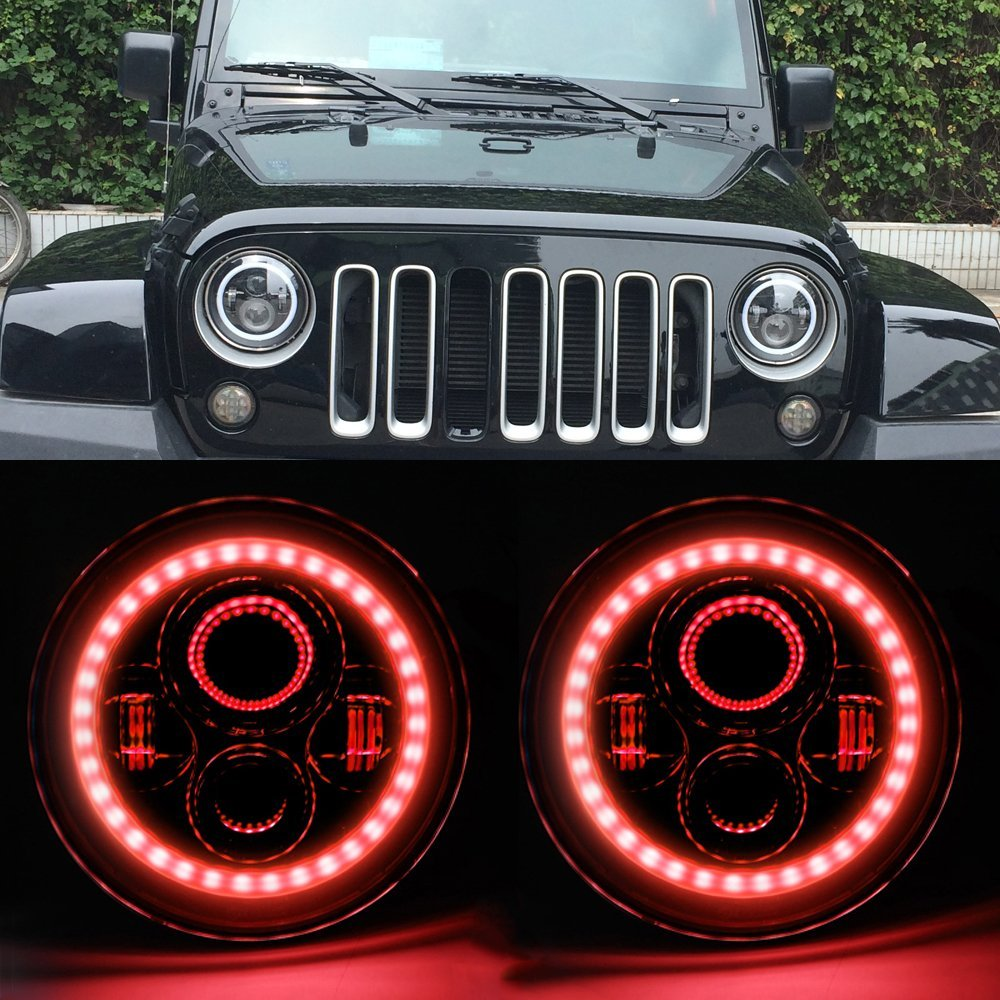 For Jeep Wrangler TJ JK JKU Rubicon Sahara Pair 7 LED Projector Headlamp With Red DRL