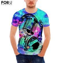 FORUDESIGNS Hip Hop Music Print T-Shirt for Men Colorful tshirt Short Sleeve Male Cool O-Neck Tops Tee T-shirt Dropshipping
