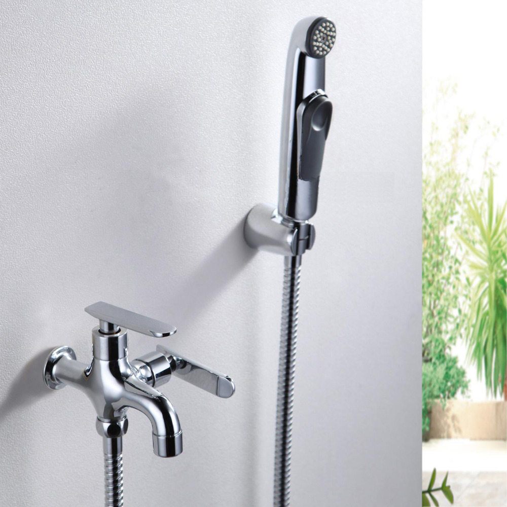 WC Bidet Faucet Chrome Wall Mount Handheld Portable Water Wash Cleaner Hose Shattaf Sprayer Female Urinal Shower Kit FXQ023